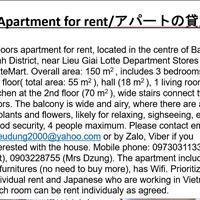Chính chủ cho thuê nhà riêng tiện nghi đầy đủ, ở 12 Đào Tấn, Ba Đình cạnh Lotte (English, Japanese)