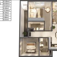 Căn hộ liền kề Quận 1, 67m2 - 02 phòng ngủ cần sang nhượng giá hấp dẫn