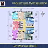 Chỉ cần 360tr là sở hữu ngay căn Tecco Tower Bình Dương, 2 phòng ngủ - 2wc, 2 ban công ngay Vsip 1