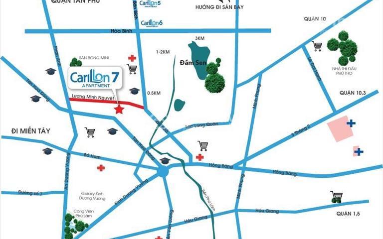 Cần bán căn hộ Carillon 7 Tân Phú CV Đầm Sen, trả góp 12 tháng, CK 7%, miễn phí 2 năm phí quản lý
