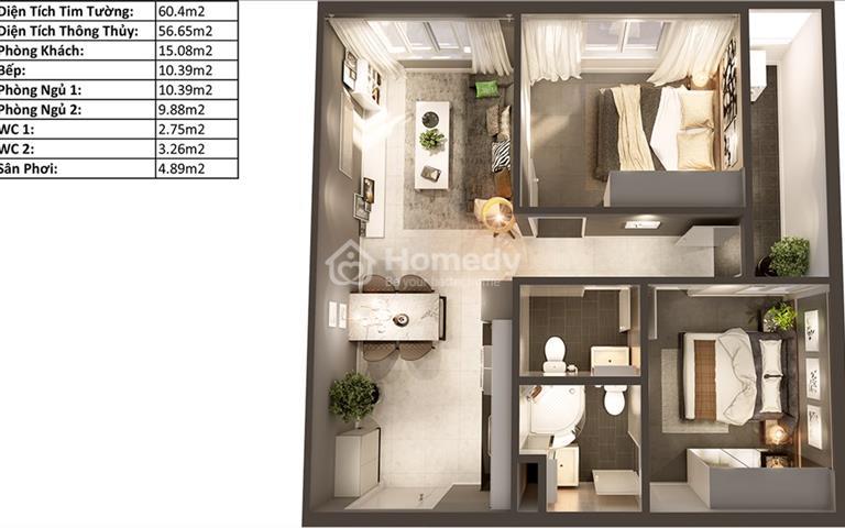Topaz Elite quận 8, Dragon 1 căn hộ 60m2 view hồ bơi tràn viền, tầng thấp, giá tốt