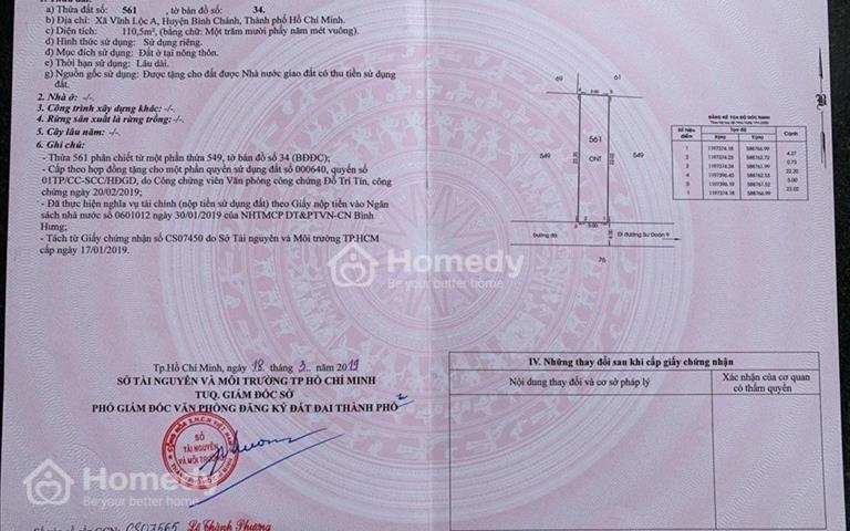 Bán lô đất xã Vĩnh Lộc A giá 28,5 triệu/m2 sổ hồng riêng thổ cư 100%, xây tự do