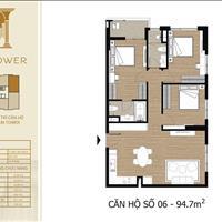 Căn hộ Tây Hồ Residence 94.7m2, 3 phòng ngủ, giá 4,5 tỷ view Hồ Tây