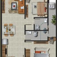 Cho thuê căn hộ 2 phòng ngủ, 2 WC, khu dân cư an ninh tốt