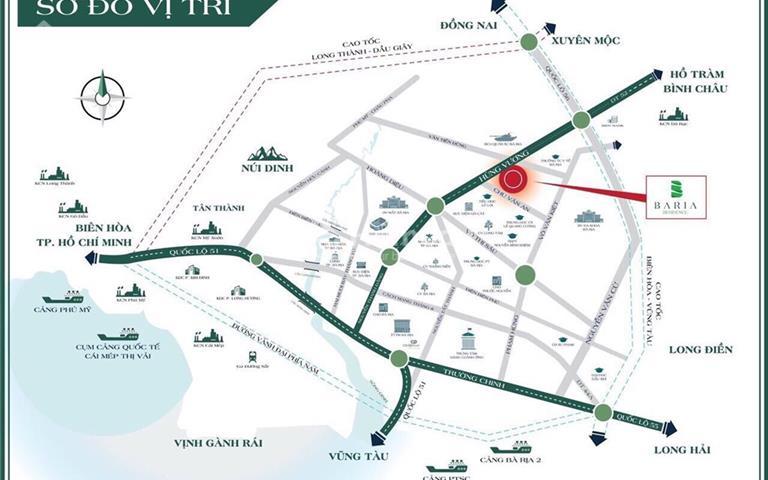 Đất nền sổ đỏ mặt tiền đường rộng 42m, vị trí hiếm hoi tại trung tâm Bà Rịa, giá chỉ 16,5 triệu/m2