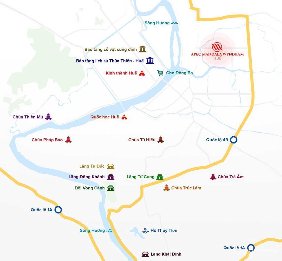 Vị trí pec Mandala Wyndham huế trên bản đồ