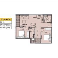 Bán căn hộ 15A tòa S1.02 2 phòng ngủ, 2 vệ sinh, 62m2, giá full 1.849 tỷ CK 9.5%, vay 0% lãi suất