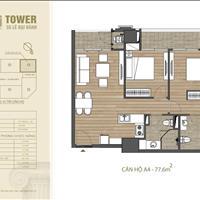 Bán căn góc 2PN A4 tầng đẹp chung cư HDI Tower 55 Lê Đại Hành 6.8 tỷ, 77.6m2, CK 100tr, bank 70%