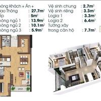Căn hộ 2 phòng ngủ +1, 86m2 ban công Tây Nam tại TSG Lotus Long Biên