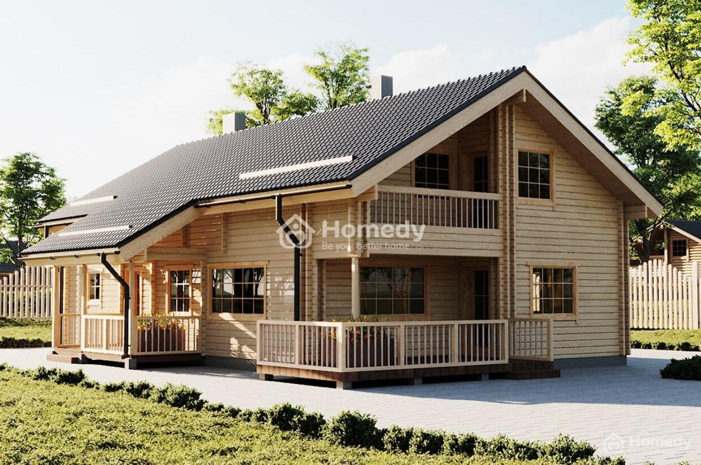 Nhà lắp ghép 2 tầng bằng gỗ