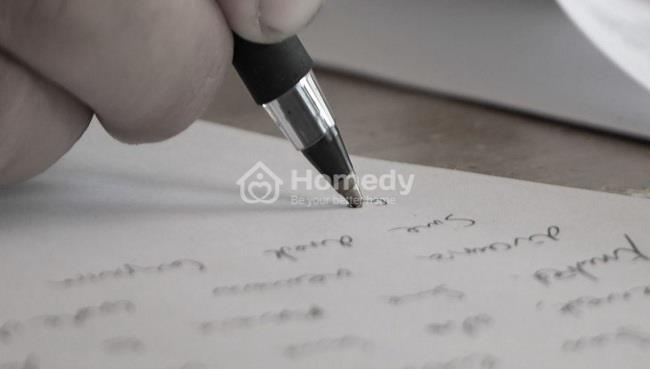 Giấy cho tặng đất viết tay