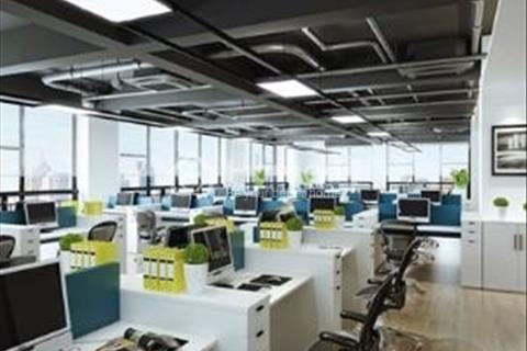 Văn phòng Nguyễn Xiển - Thanh Xuân 100m2 thông sàn đủ tiện ích, bãi đỗ xe rộng mặt tiền 6m kính