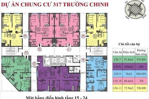 Chính chủ bán căn hộ 7 tầng 23 chung cư 317 Trường Chinh, Thanh Xuân, giá 27 triệu/m2