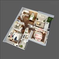 Bán căn hộ The Terra 2 phòng ngủ 2 wc suất ngoại giao, ban công Đông Nam tầng 28, giá 1,89 tỷ