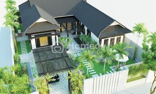 Ngôi nhà 1 tầng chữ U tọa lạc giữa một không gian rộng lớn với hình dáng mới lạ và đẹp mắt