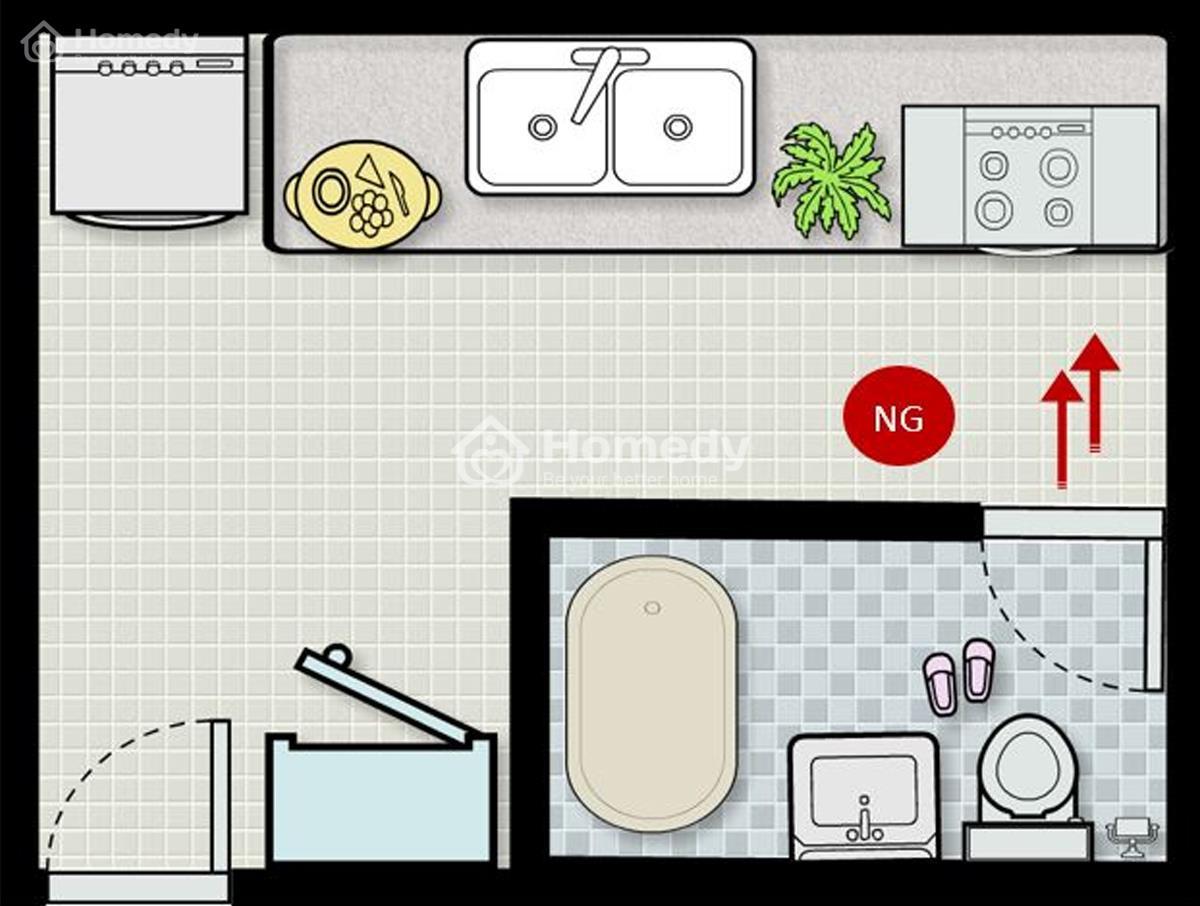 Tránh để cửa nhà vệ sinh và bếp đối diện nhau