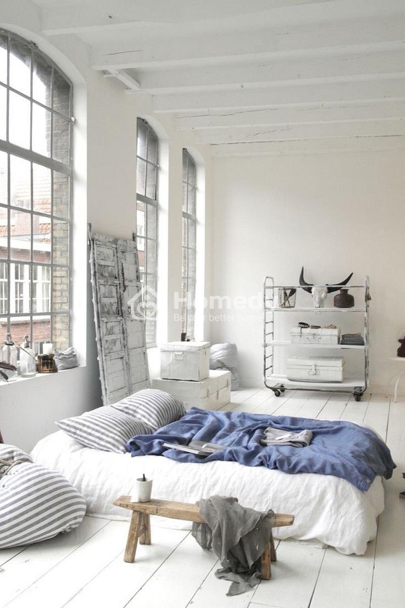 Thiết kế nội thất phòng ngủ không giường gam màu trắng chủ đạo