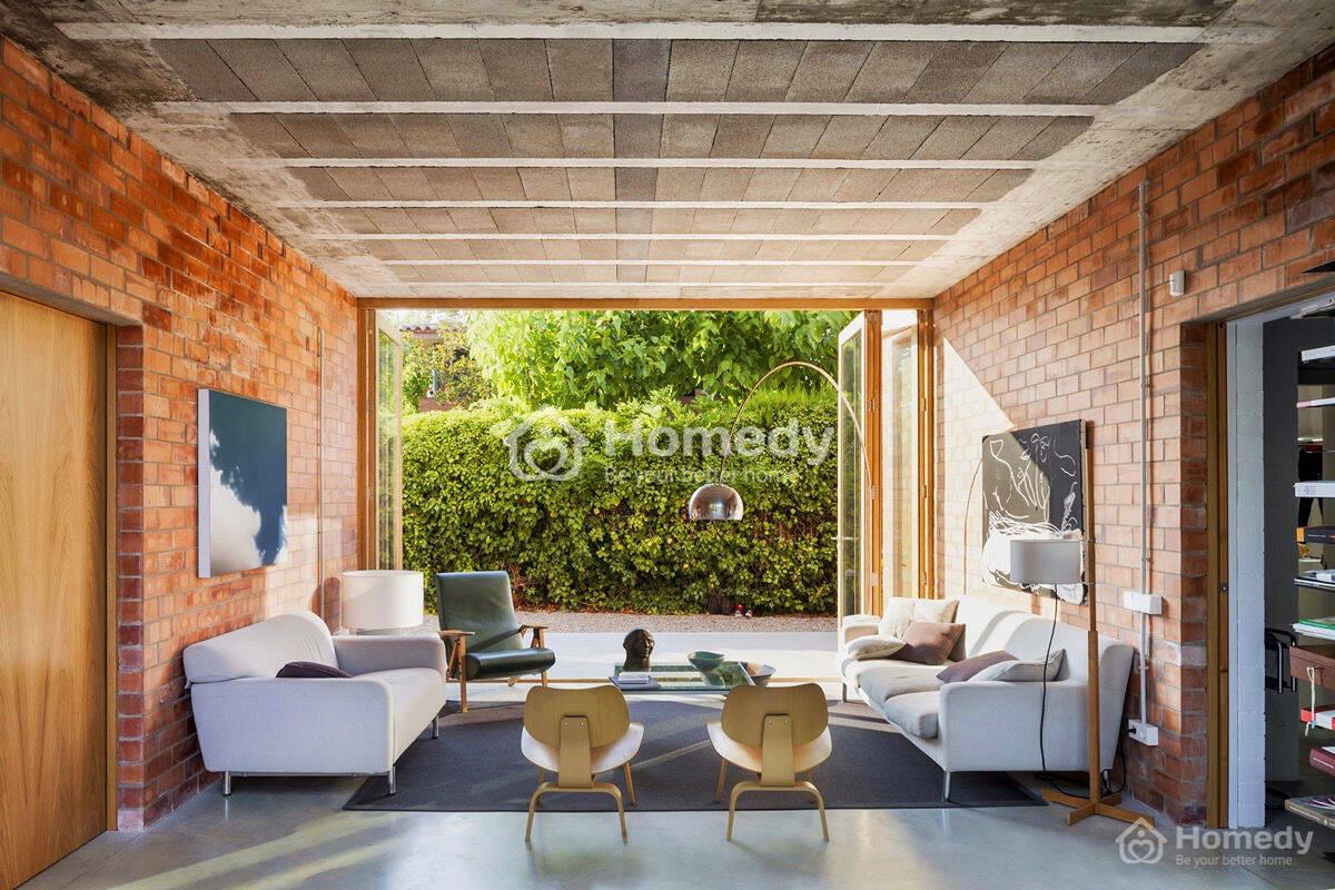 Nhà xây gạch mộc đẹp trang trí không gian phòng khách