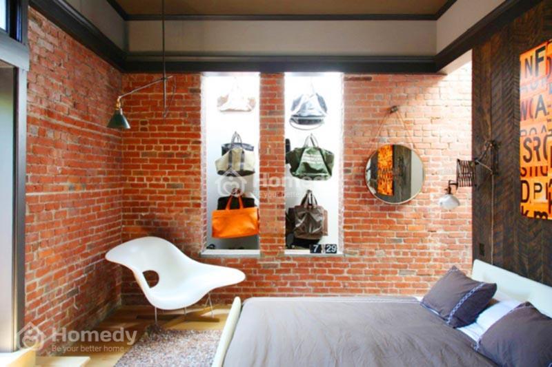 Nhà xây gạch mộc đẹp trang trí không gian phòng ngủ
