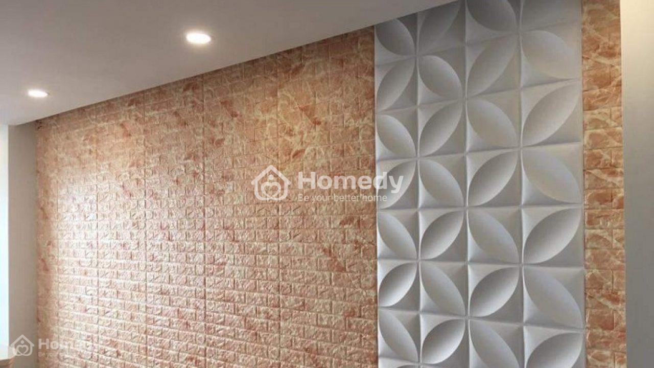 Căn phòng trở nên ấn tượng nhờ kết hợp nhiều loại xốp dán tường