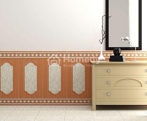 Phòng khách thêm sang trọng với gạch ốp tường giả gỗ