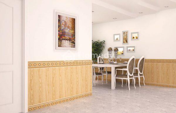 Trang trí gạch ốp tường giả gỗ sáng màu