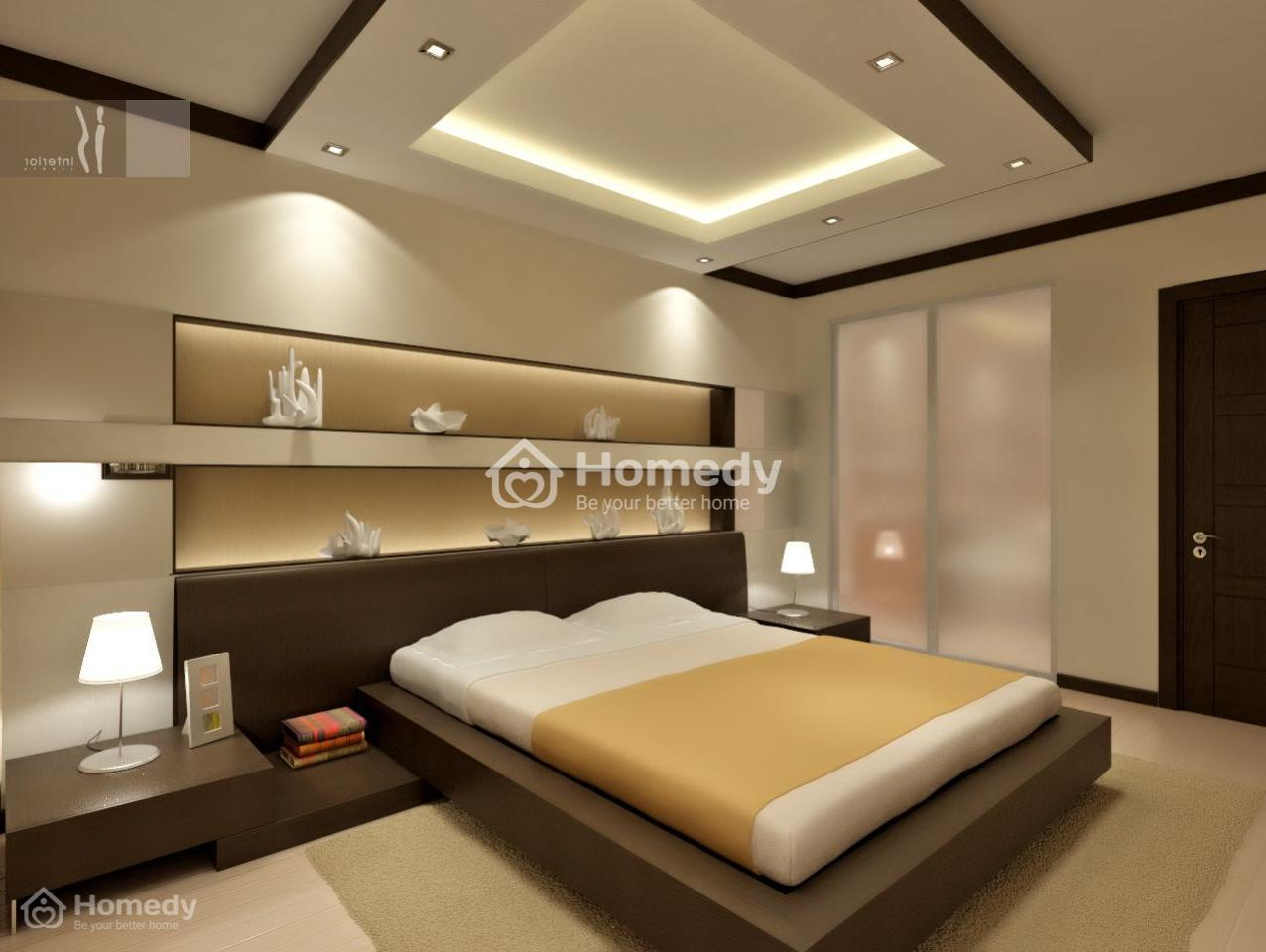 Phòng ngủ không có cửa sổ vẫn sáng sủa đèn