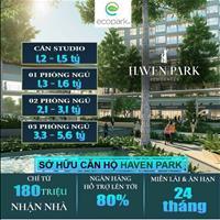 Căn 2-3 phòng ngủ Haven Park 63.16 - 122m2, hỗ trợ lãi suất 0%, 80% giá trị căn hộ - chỉ từ 2,1 tỷ