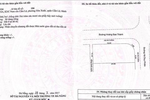 Đất Hòa Xuân lô góc 266,7m2 - Giá siêu đầu tư