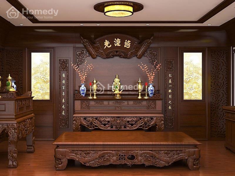Lựa chọn kích thước bàn thờ treo, tủ bàn thờ dựa vào thước lỗ ban