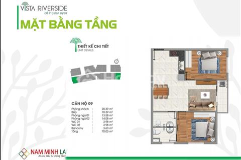 Hàng Hiếm tại căn hộ Vista, Căn Góc 2 MẶT tiền Sông Sài Gòn siêu đẹp, 70m2 2PN, 2WC ở liền năm nay