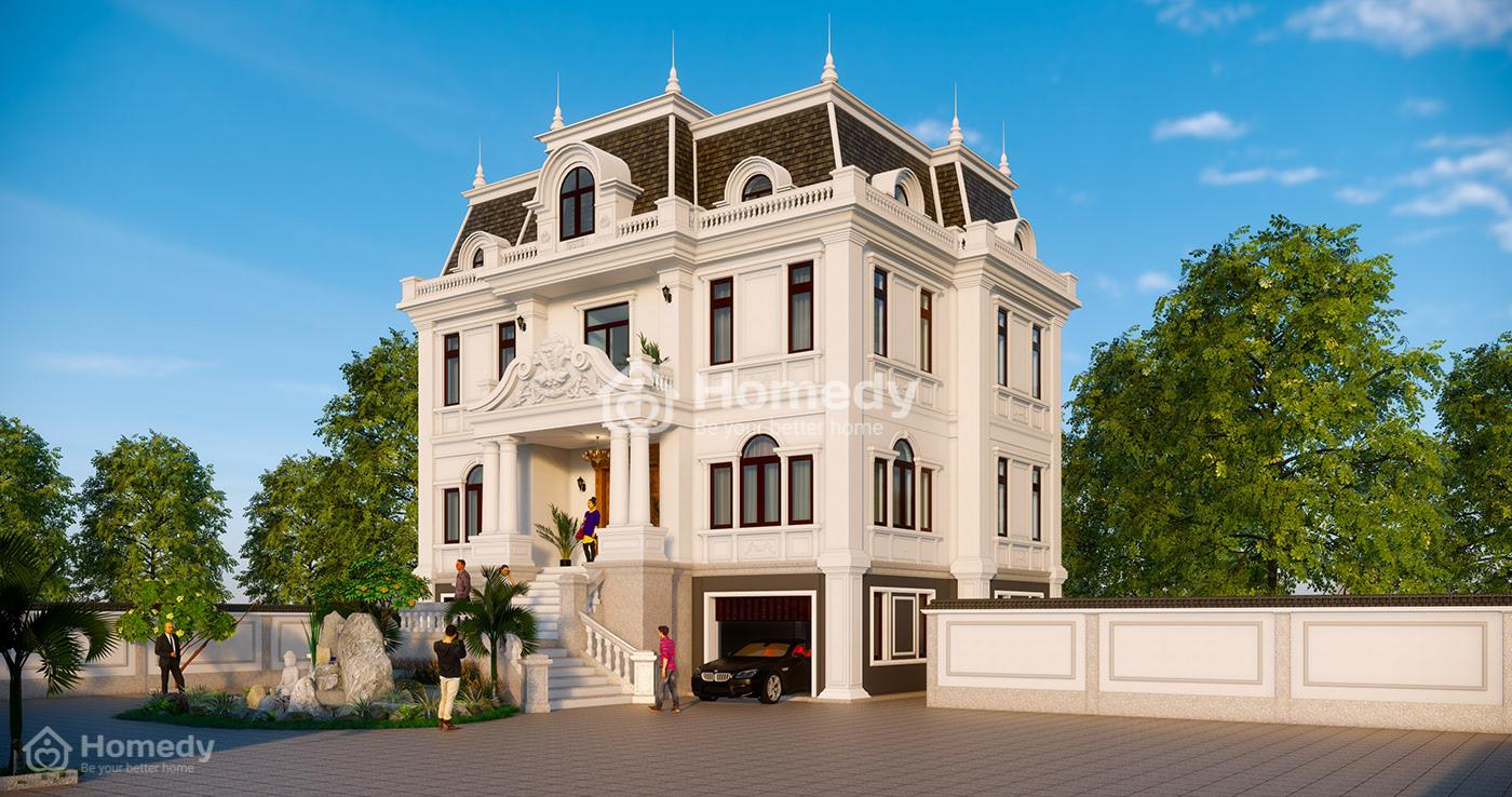 Mẫu biệt thự 3 tầng kiến trúc Pháp