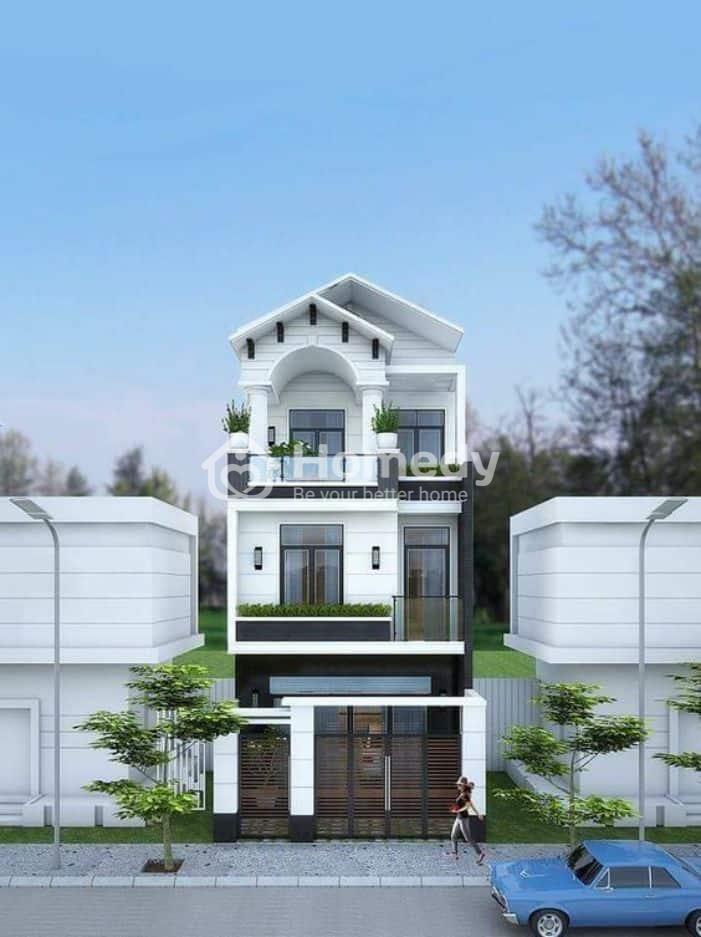 Thiết kế nhà ống 3 tầng mái thái phong cách tân cổ điển