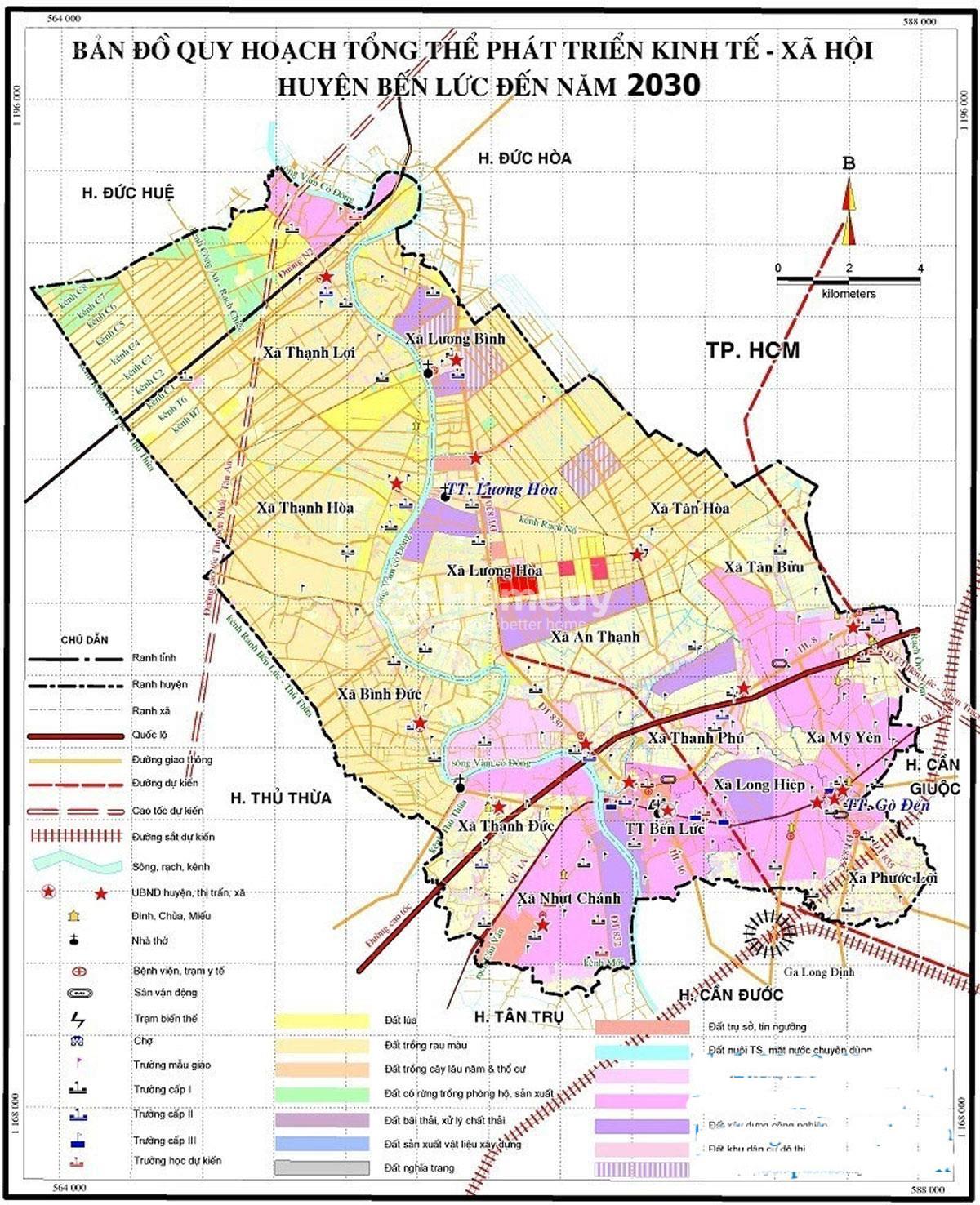 Bản đồ quy hoạch huyện Bến Lức về giao thông