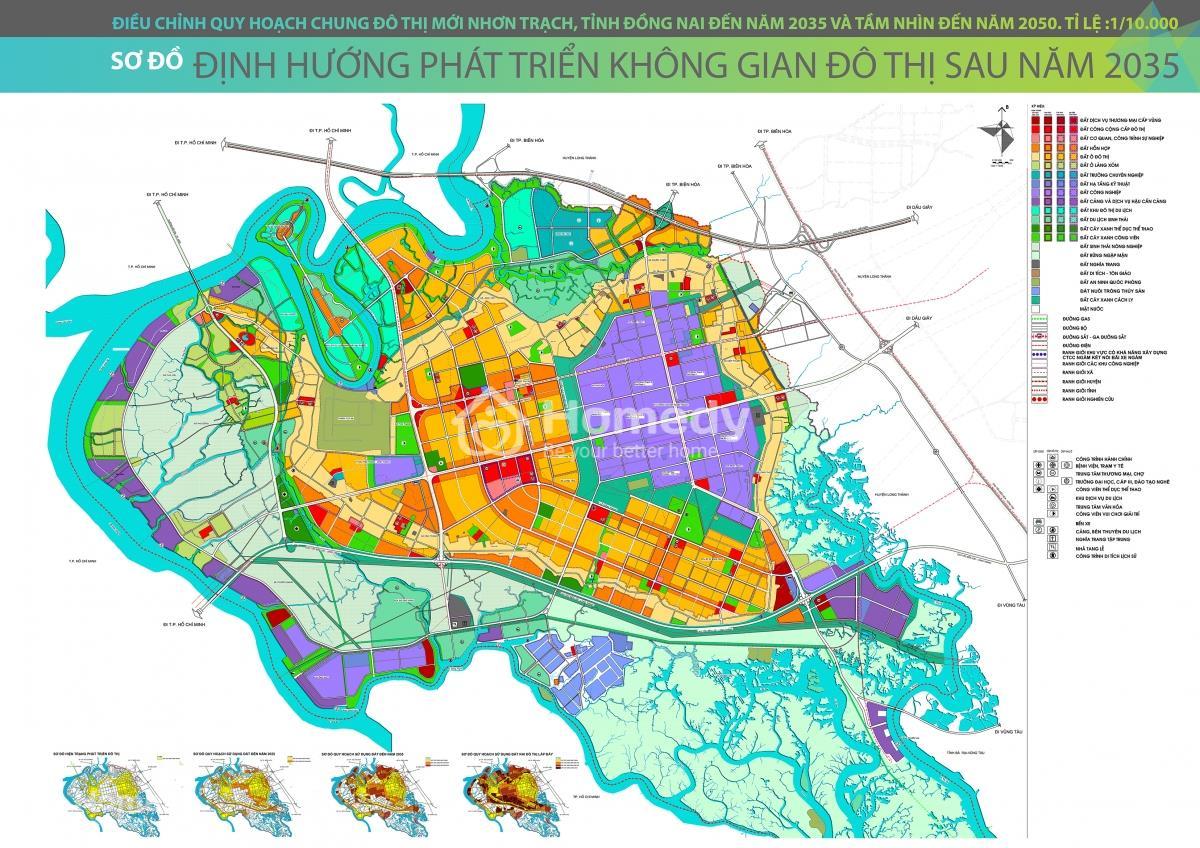 Bản đồ quy hoạch huyện Nhơn Trạch đến 2035, tầm nhìn 2050
