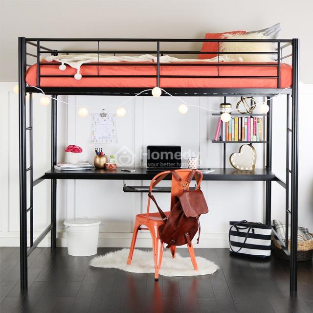 Mẫu giường tầng kiêm bàn làm việc bằng sắt trang trí phòng trọ không gác lửng