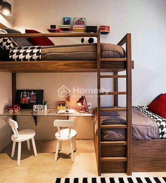 Decor phòng trọ không gác đẹp tiết kiệm diện tích với giường tầng