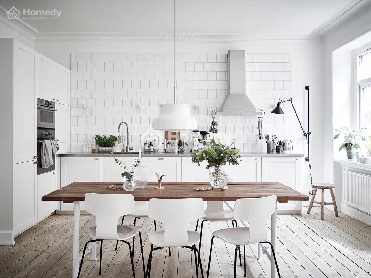 Thiết kế nhà đẹp phong cách Bắc Âu sơn tường màu trắng sứ