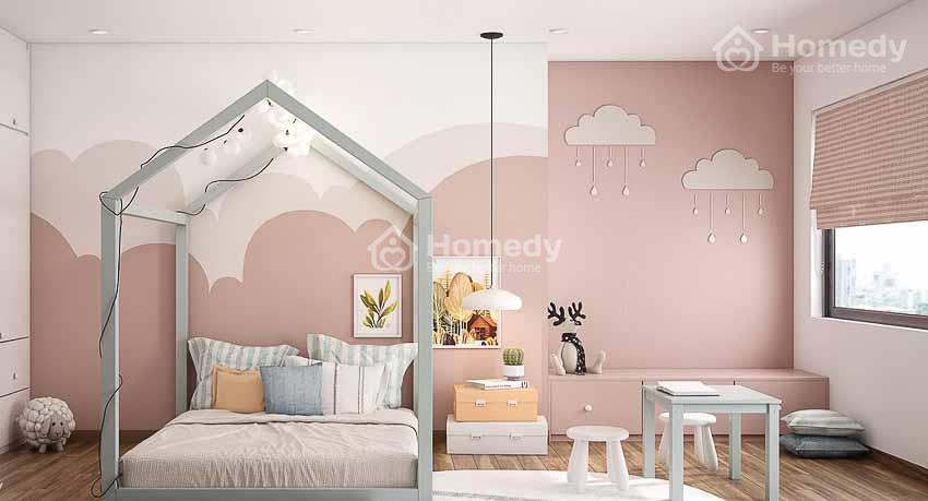 Sơn nhà trắng sứ kết hợp với hồng pastel
