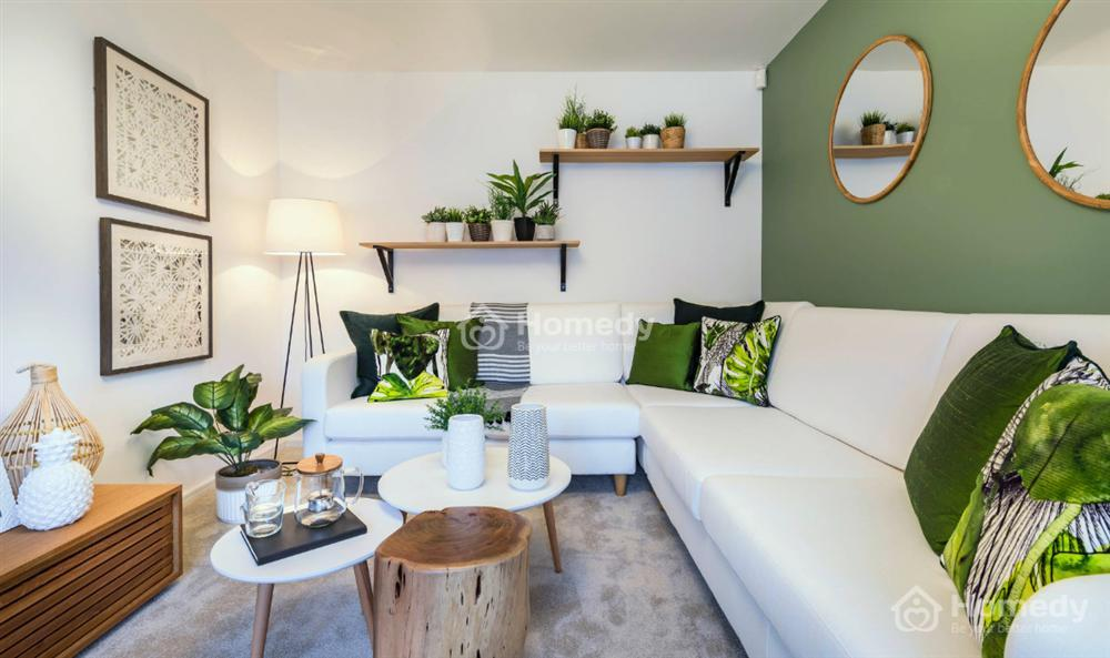 Sơn nhà bếp kết hợp trắng sứ và xanh lá