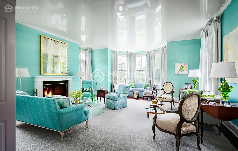 Sơn nhà màu xanh ngọc cho phòng khách