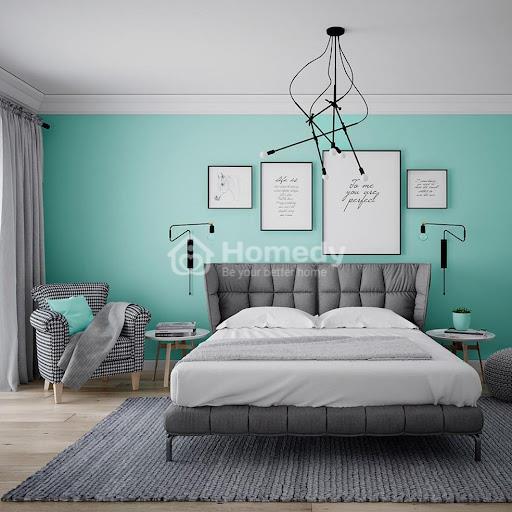 Phòng ngủ hiện đại sơn màu xanh ngọc