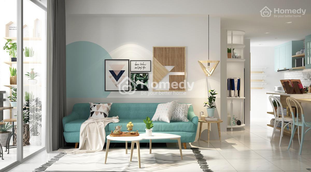 Mảng tường kết hợp giữa trắng và xanh đẹp mắt