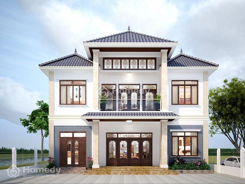 Mẫu nhà mái Nhật 2 tầng thiết kế đăng đối