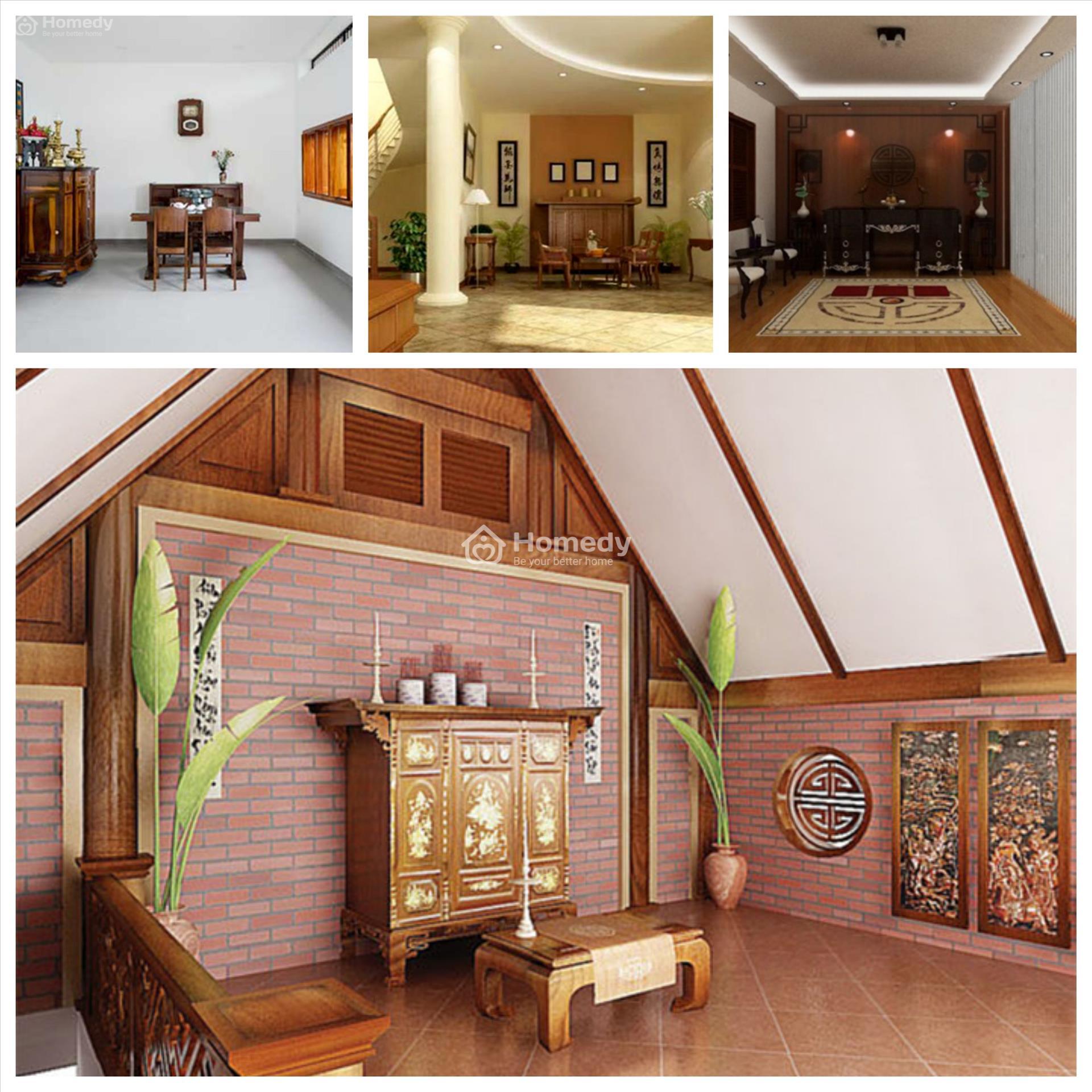 thiết kế phòng thờ nhà ống 2 tầng