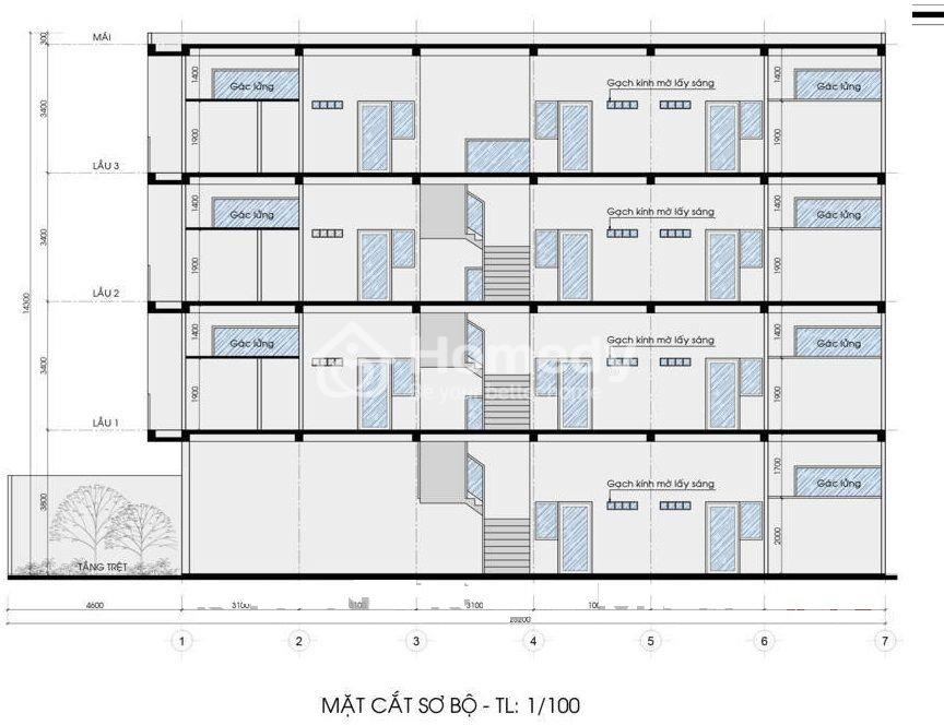 Bản vẽ thiết kế phòng trọ 2 tầng