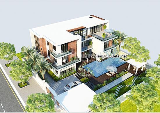 Diện tích tổng thể biệt thự 3 tầng phong cách hiện đại: 567m2