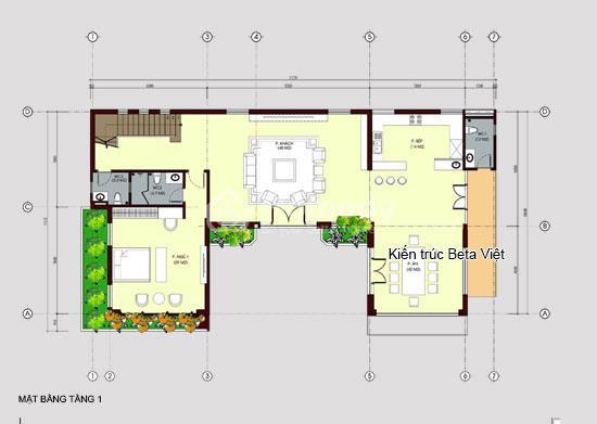Diện tích tầng 1 của biệt thự 3 tầng phong cách hiện đại: 180m2
