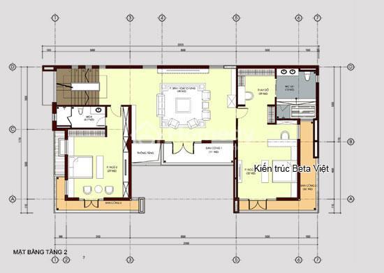 Diện tích tầng 2 biệt thự 3 tầng phong cách hiện đại: 180m2 + 32m2 Ban công