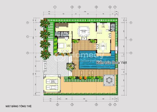 Mặt bằng tổng thể biệt thự 3 tầng phong cách hiện đại